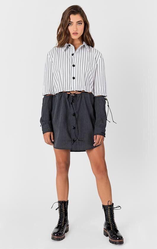 LF schwarz Weiß striped cotton split shirt dress NWT sz S