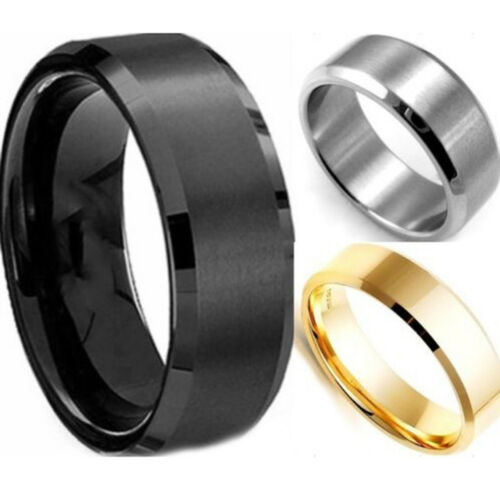 Personalised Engraved Black Silver Mens Band Ring Stainless Steel Custom Gift