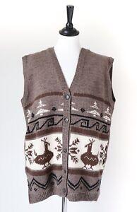 Peruvian Style Gilet / Sleeveless Cardigan - Wool Blend - KENZIA - Large