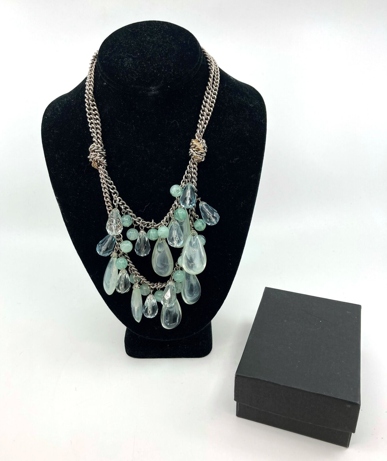 Ann Taylor LOFT Jewelry Women's Turquoise & Silver Beaded Statement Necklace