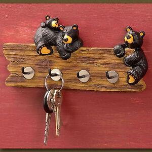 Big Sky Carvers Jeff Fleming Bearfoots Black Bear Key Holder Key Caddy Wall Hook