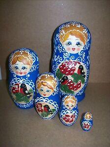 Peasant-Girl-Nesting-Doll-w-Birds-amp-Berries-75-5-Doll-Russian-Nesting-Doll
