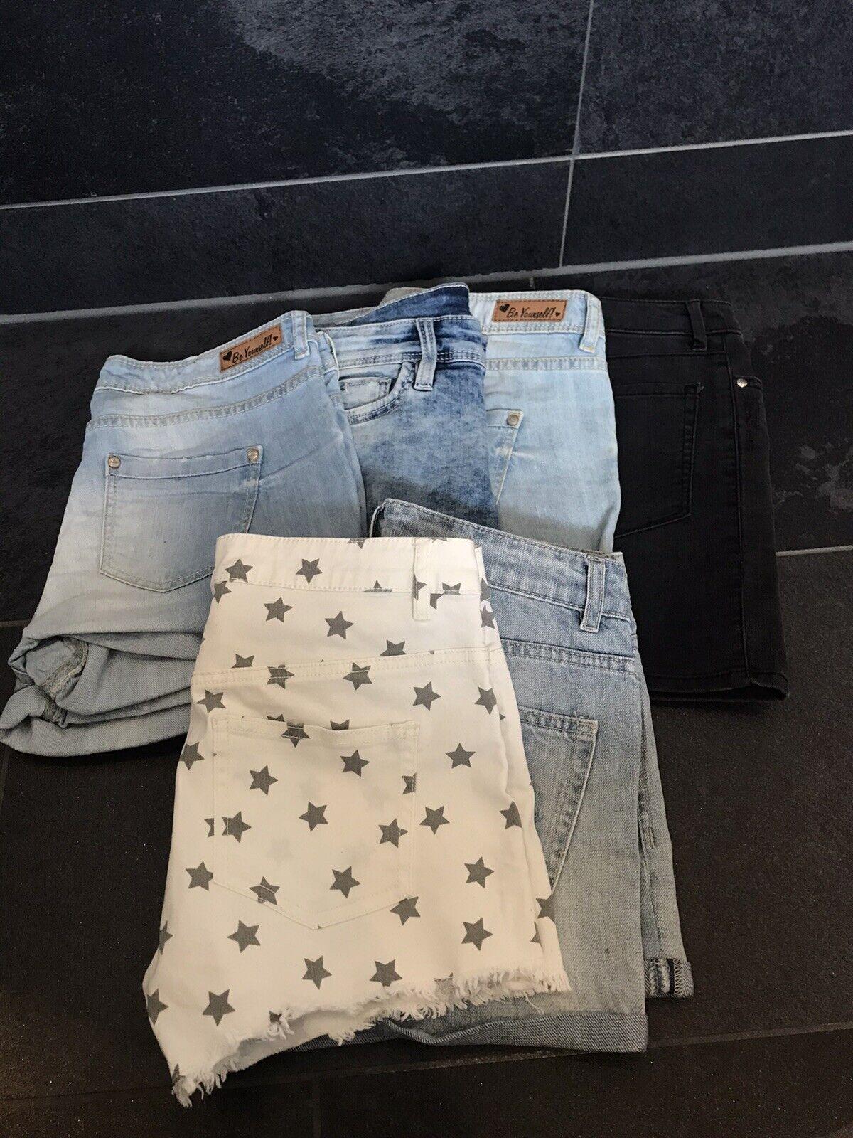 6-tlg. Set, Gr. 34/ XS 💥kurze Jeans 5x + 1 x Jeansrock schwarz 💥NEUWERTIG‼️Top