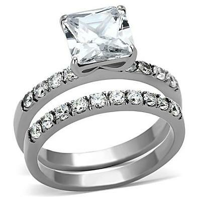 3.7CT Princess CZ Stainless Steel Engagement Wedding 2 PC Promise Ring  set