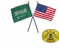 Usa American & Saudi Arabia Flags 4x6 Desk Set Table Gold Base
