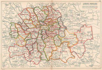 Consistiuencies London Boroughs Bacon 1927 Map Metropolitan & Parliamentary