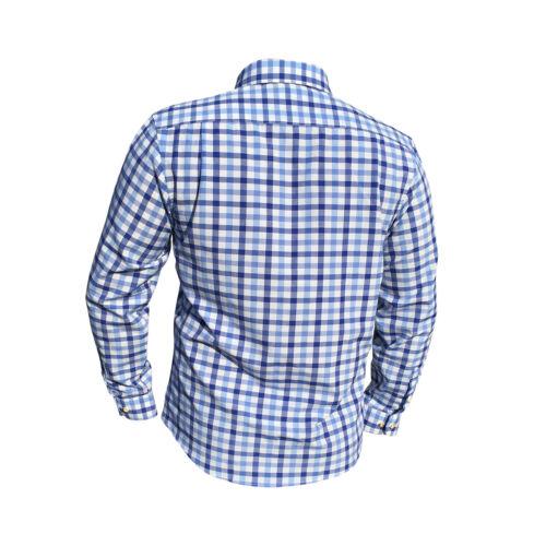 Trachtenhemden Herren Hemd Kariert Traditionell Langarm Blau Oktoberfest Almsach