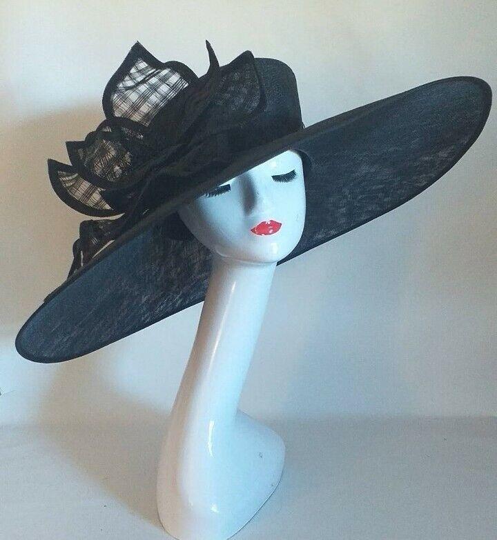 Ladies xxl black hat statement hat. Ascot races wedding made to order huge
