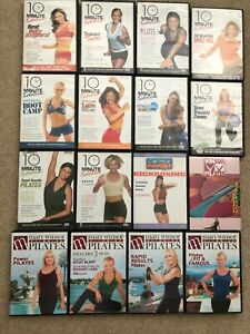 Lot of 16 Pilates & 10 Minute Solution Fitness Exercise Workout Videos DVDs