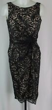 Calvin Klein Black Gathered Waist Lace Sheath Dress Size 4 K1027