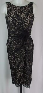 Calvin Klein Black Gathered Waist Lace Sheath Dress Size 4 K1027