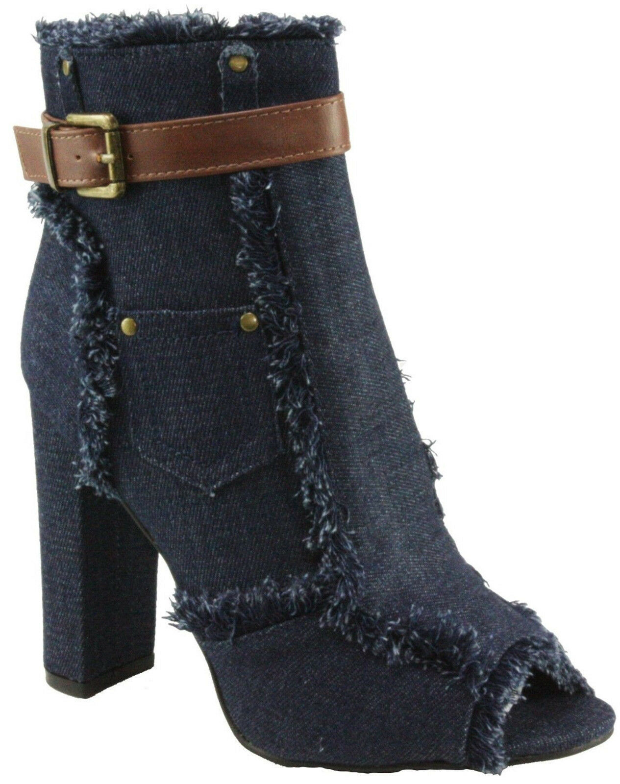 Denim Frayed Ankle Strap Size Block Zip Peep Round Toe Block Size Chunky High Heel Booties 3b187e