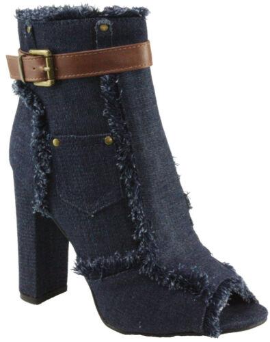 Denim Frayed Ankle Strap Size Zip Peep Round Toe Block Chunky High Heel Booties