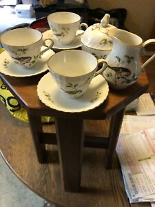 Kaiser-porcelain-Bird-Set-Of-3-Cups-And-Saucers-With-Cream-And-Sugar