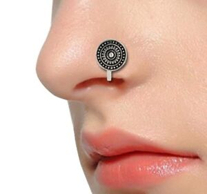 Bollywood Oxidized Silver Plated Nose Pin Nose Clip Nose Ring