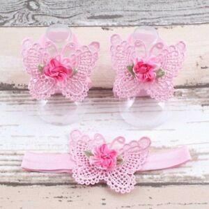 HOT Kid Toddler Cute Foot Infant Newborn Sandals Barefoot Headband Baby Flower