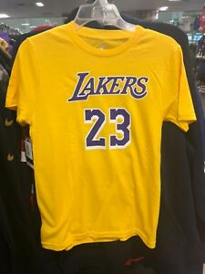 8942d472dab LeBron James Los Angeles Lakers #23 Gold NBA Youth Name & Number T ...