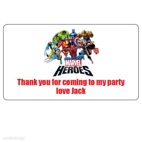 48x personalizado de Marvel Heroes gracias bolsa fiesta de cumpleaños Pegatinas de dirección 226