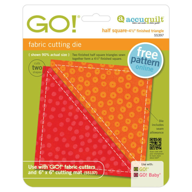 "AccuQuilt GO! & Baby Half Square Triangle-4 1/2"" Finished Square Die 55397"