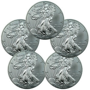 Lot-of-5-2014-1-Troy-Oz-999-Fine-Silver-American-Eagle-Coins-SKU30461