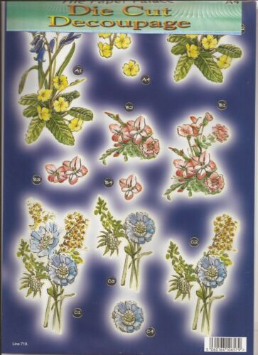 Primrose Flowers A4 Die Cut 3D Decoupage Sheet 051-719