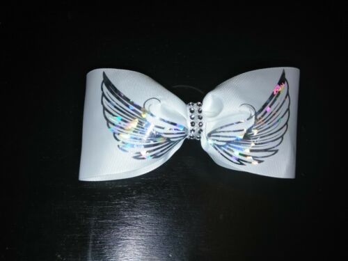 Angel Wings Tailless Cheer Size Hair Bow Silver