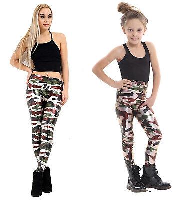 Ladies Girls Army Camouflage Metallic Leggings Kids Foil Shiny Child Dancewear Eine VollstäNdige Palette Von Spezifikationen