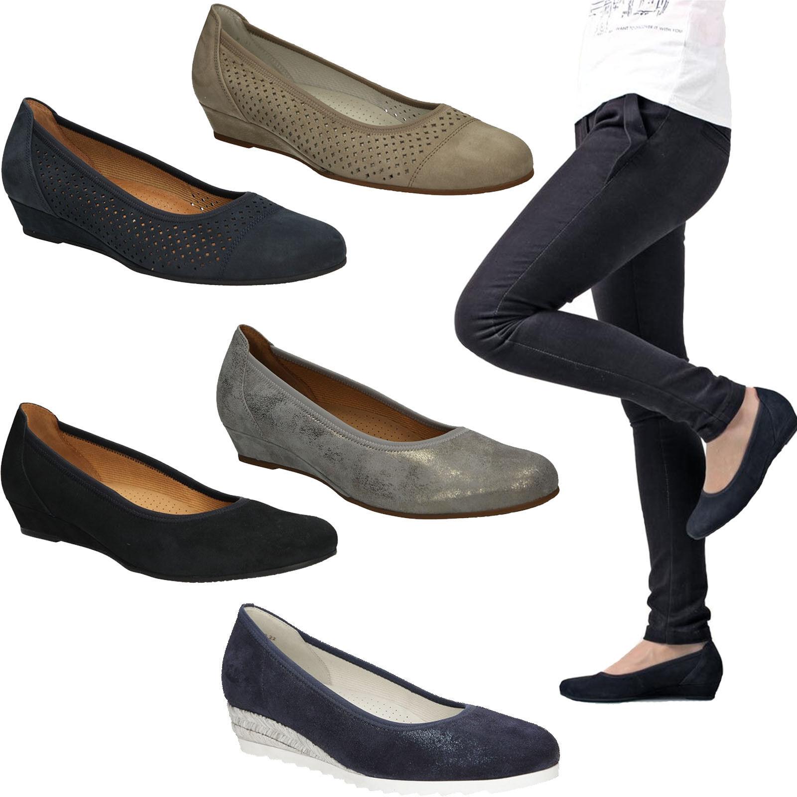 Femmes Ballerines GABOR Chaussures Escarpins Véritable Cuir Talon Compense Taille 36-41 Soldes