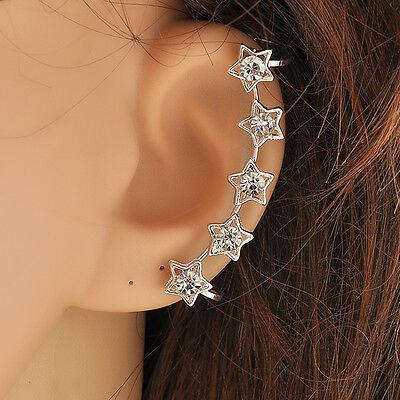 sweet Retro Crystal Star Flower Gold Ear Cuff Stud Earring Wrap Clip On Ear