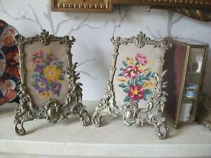 PAIR-VINTAGE-ANTIQUE-ORNATE-BRASS-EASEL-PICTURE-FRAMES-CROSS-STITCH-INSETS