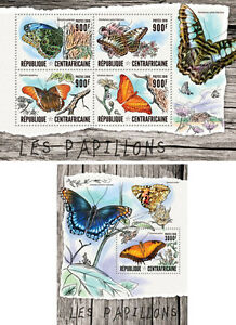 Butterflies-Insects-Fauna-Central-Africa-MNH-stamp-set-2-sheets
