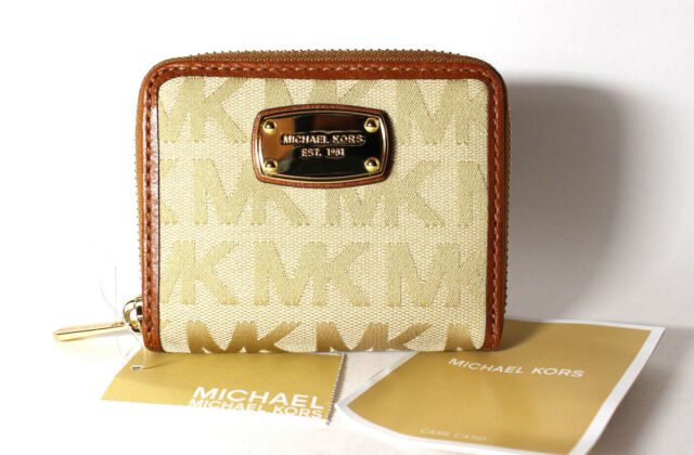 a8308f2844b0 Michael Kors Jet Set Item ZA Bifold MK Signature Jacquard Wallet BG/CAM/LUGG