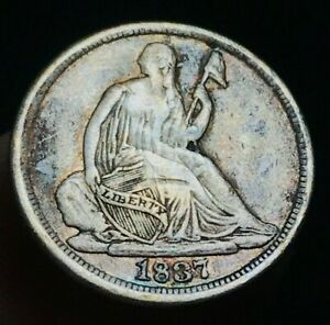 1837-Seated-Liberty-Half-Dime-5C-LARGE-Date-NO-Stars-Type-US-Silver-Coin-CC2382