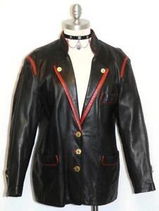BLACK-LEATHER-JACKET-Coat-Women-German-Winter-Hunting-Western-Dress-40-B42-034-12-M