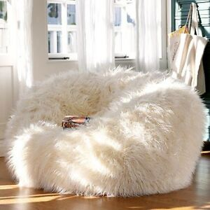 Phenomenal Details About New Australias Largest Fluffy White Faux Fake Shaggy Fur Bean Bag Chair Machost Co Dining Chair Design Ideas Machostcouk