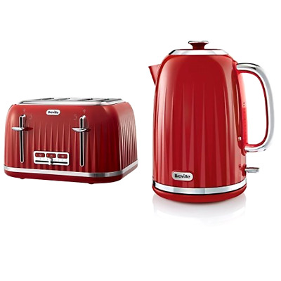 2864fc031621 Details about Breville Impressions 4 Slice Toaster and Kettle Bundle - Red