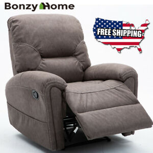 Details about Manual Recliner Chair Classic Padded Durable Lounge Sofa Overstuffed Padded Back
