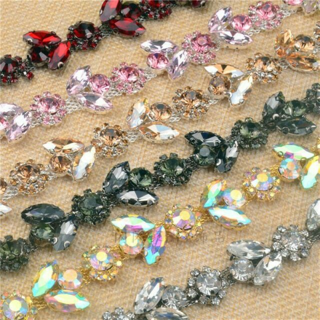 1Yard Rhinestone Chain Sewing Ribbon Craft Trim Dress Decor Applique Silver