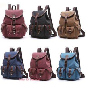 Womens-Vintage-Canvas-Backpack-Rucksack-Travel-Hiking-Satchel-Bookbag-School-Bag