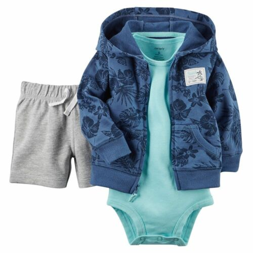 Carters 3 Piece Shorts Set Hawaiian Newborn 3 6 9 Months Cardigan