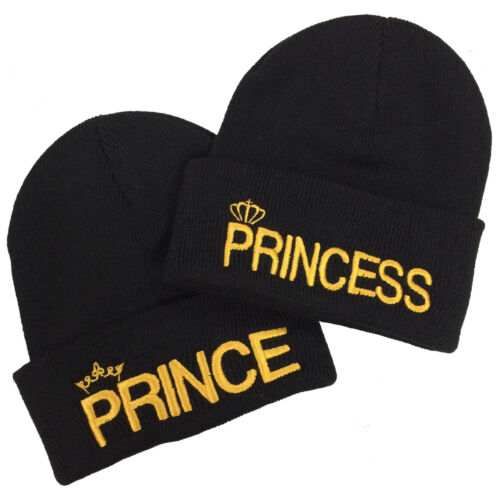 His /& Hers Couple Fashion Hats Prince Princess Pair Embroidered Beanie Set