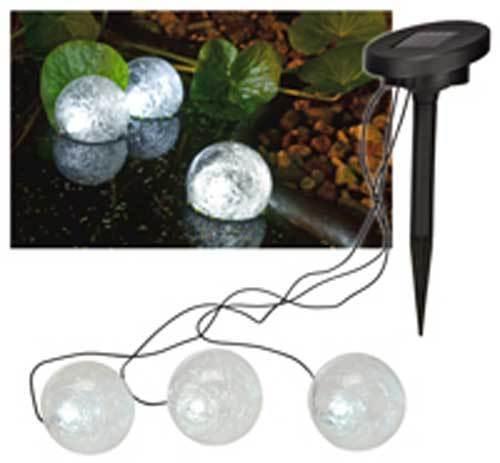 Solar Teichstrahler Teichlampe Schwimmkugeln Gartenteich Beleuchtung LED  3 tlg.