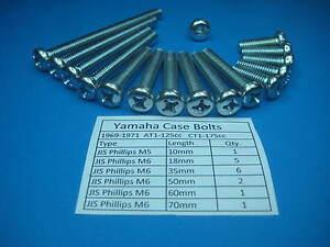 ENGINE COVER BOLTS Yamaha Enduro AT1  CT1  69-71 JIS PHILLIPS  Original Style