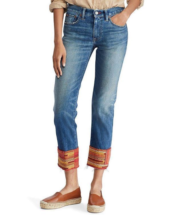 Polo Ralph Lauren The Waverly Straight Crop Embroidered Crop bluee Women Jeans 27