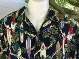 MENS-M-Hawaiian-Aloha-SHIRT-Short-Sleeves-Island-Surfboards-USA-100-Cotton