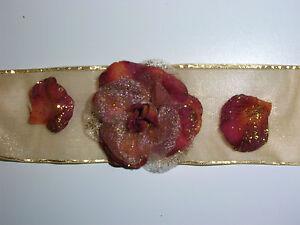 6 X Tischbander Rost Amber Gold Rosen Tischband Rose Tischdeko