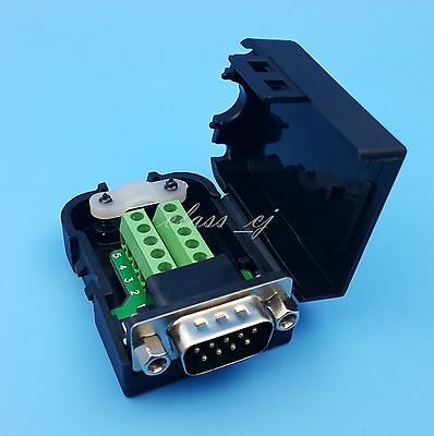 D-SUB DB9 Male 9Pin Black Cover Nut Type Terminals Board Connector DIY Plugs