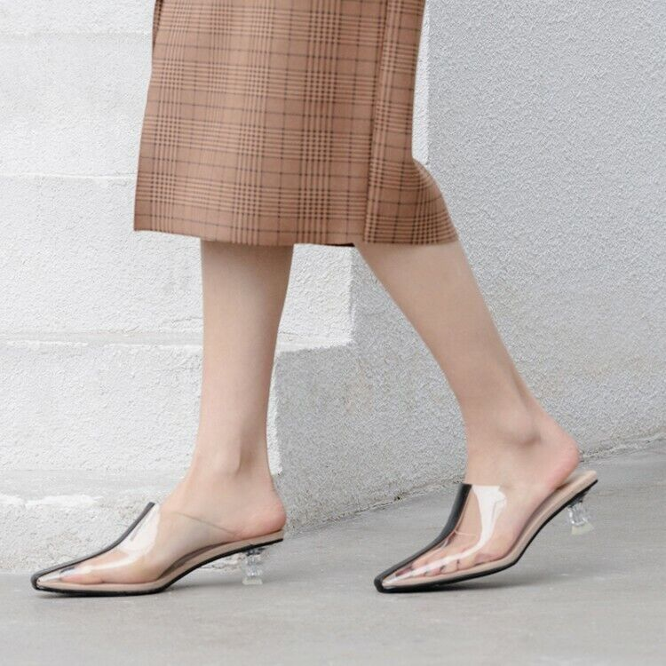 femmes Clear Chunky Med Heel Square Toe Patchwork Mules Slip On Sandals chaussures