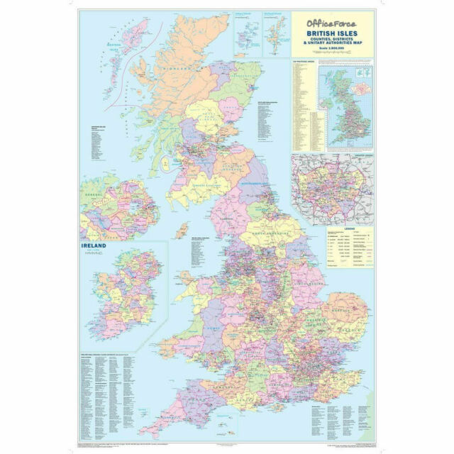 Map Of Ireland And Wales.Uk Counties Map Of Gb Ireland Wales Large Business Paper Wall Poster 120x83cm