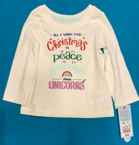 Girls Cat /& Jack All I Want Christmas Peace Rainbows Unicorns Shirt 12 18 2T 3T